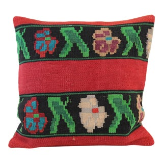 "Turkish Vintage Red & Green Kilim Pillow Cover 20""x 20"""