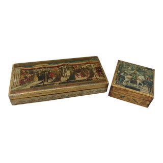 Italian Gilt Wood Keepsake Boxes - A Pair