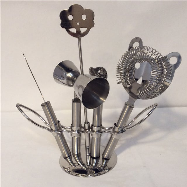 Hammered Stainless Steel Bar Set - Image 7 of 8