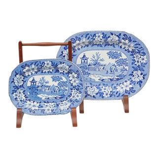 Rogers Elephant Blue & White Platters - Set of 2
