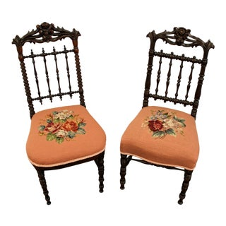 Pair of Antique Victorian Carved Floral Side Chairs