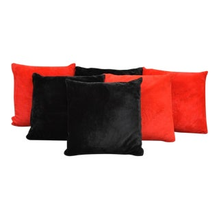 Vintage Mid-Century Plush Red & Black Floor Pillows - Set of 6