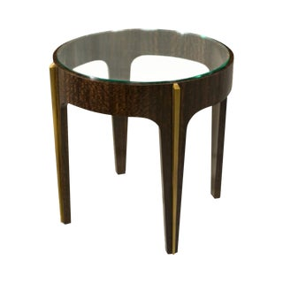 Wood and Glass Transitional Side Table
