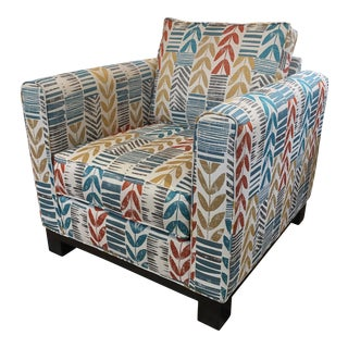 Custom Contemporary Leaf Motif Upholstered Arm Chair