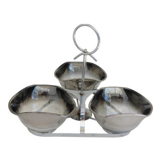 Mid-Century Silver Ombre Bowl & Caddy - Set of 4