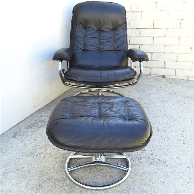 Image of Mid-Century Italian Leather Chair and Ottoman