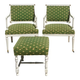 Pair of Tight Seat and Back Upholstered Empire Style Open Arm Chairs Plus Ottoman (3 Pieces)