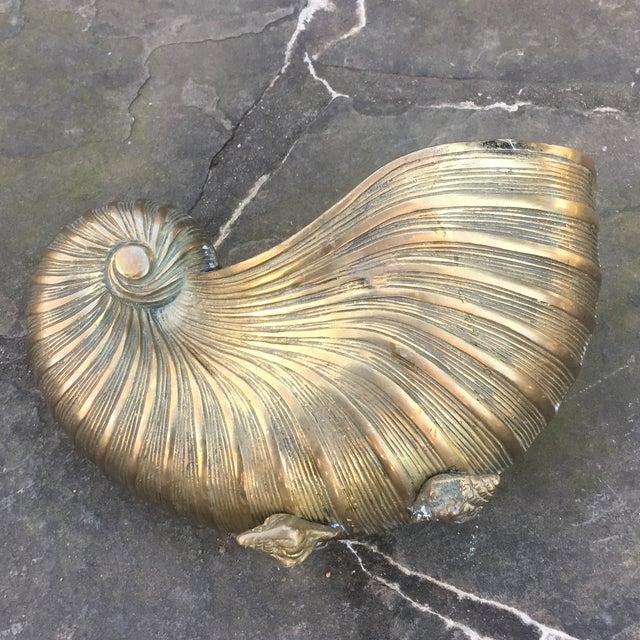 Vintage Brass Nautilus Shell Planter - Image 5 of 8