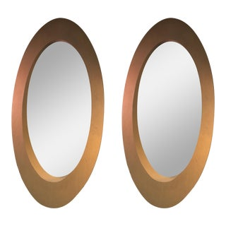 1970s Elliptical Wood Modern Mirrors - A Pair
