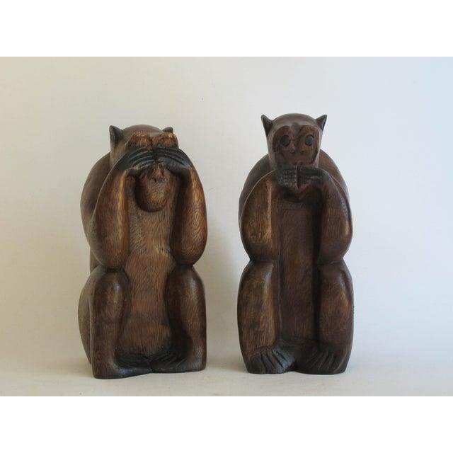 Image of Wooden Monkeys - Pair