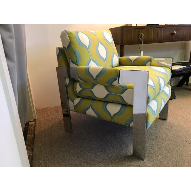 Mid-Century Chrome Milo Baughman Style Chair - Image 3 of 7
