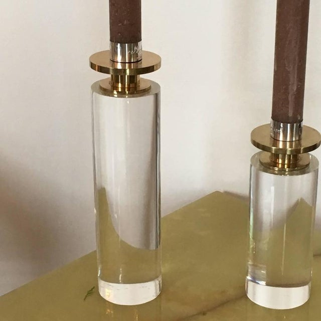 Image of Pair of Brass and Lucite Candleholders