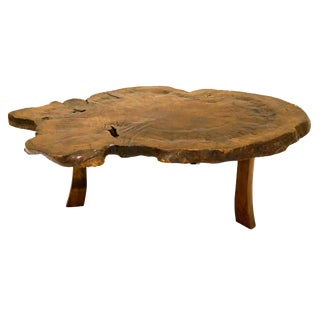 Antique Japanese Exotic Wood Slice Live Edge Table
