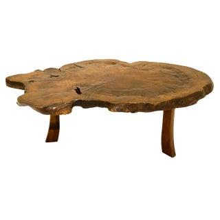 Antique Japanese Exotic Wood Slice Live Edge Table