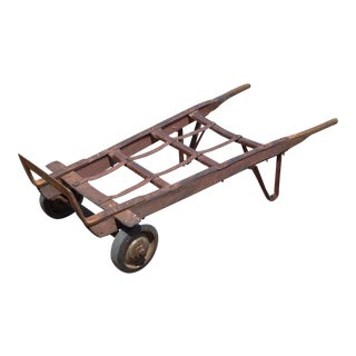 Antique Industrial Steampunk Distressed Iron & Wood Hand Truck Cart Coffee Table
