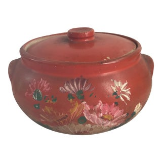 Vintage Hand Painted Tortilla Warmer Stoneware Jar