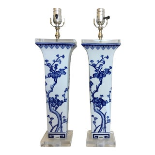 Asian Cherry Blossom Vase Lamps - A Pair