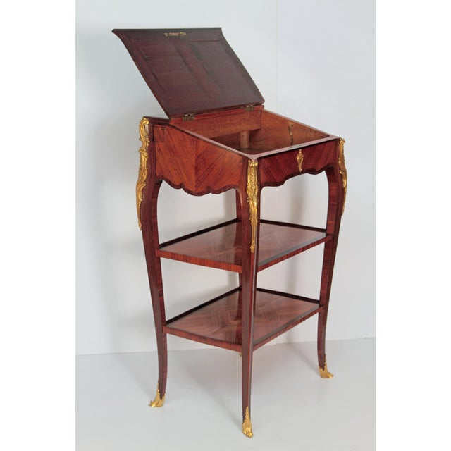 Louis XV Style Small Writing Desk / Table by Alfred Emmanuel Louis Beurdley - Image 3 of 11