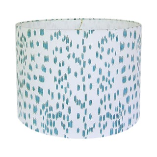 Les Touche Aqua Animal Print Drum Lamp Shade