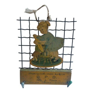 Antique Children's Girl and Doll Rack With Hooks, Italian