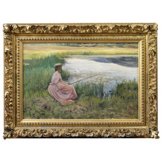 """Joseph Henry Hatfield, """"Young Woman Fishing Along a River"""" Oil on Canvas"""