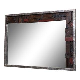 A Brutal Part Silver Leafed Lane Designed Mirror USA 1960s