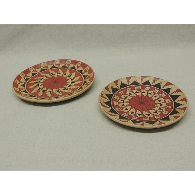 Vintage Terracotta Painted Dishes - Pair - Image 3 of 4