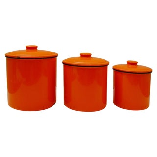 Vintage Flame Orange Enamelware Canister - 3