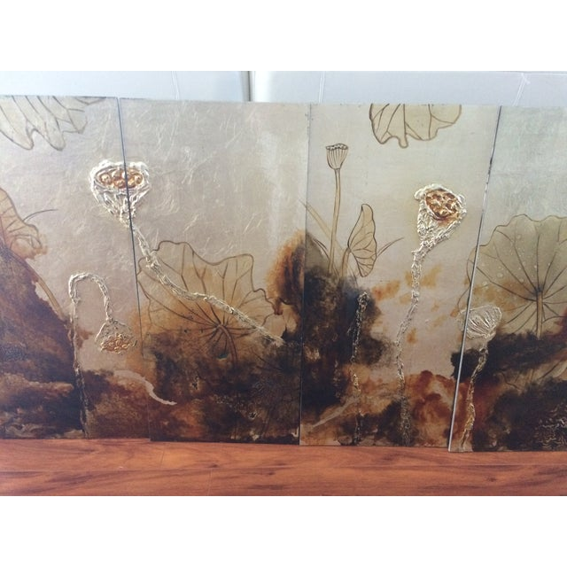 Vintage Asian Lacquer Four Panel Art - Image 3 of 7