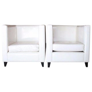 Modern White Club Chairs - A Pair