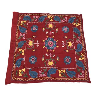 Vintage Red Suzani Square Table Cloth
