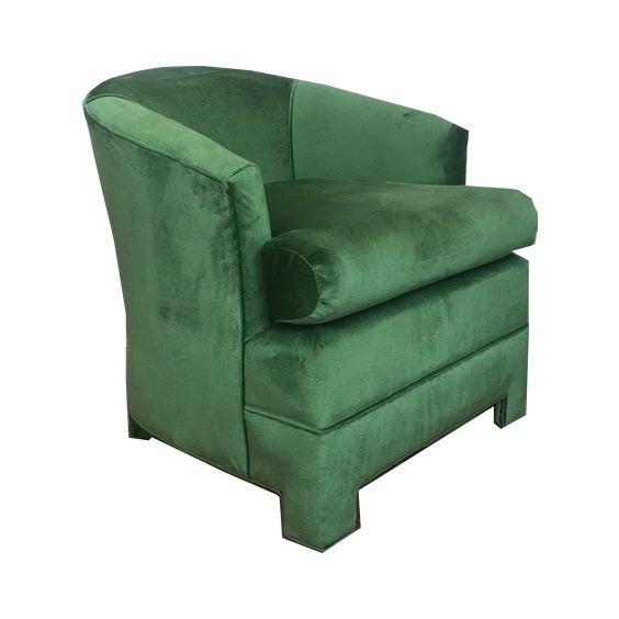 Image of Green Velvet Milo Baughman Club Chairs - A Pair
