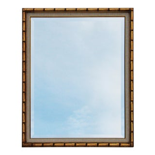 Gilt Faux Bamboo Mirror with a Linen Matte