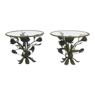 Mixed Metal Flower & Leaf Design Accent Tables - a Pair