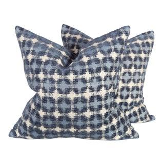 Navy Ikat Geo Pillows - A Pair