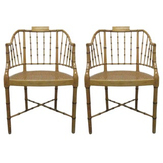 Pair Faux Bamboo Chairs