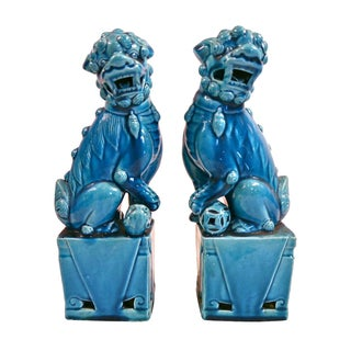 Vintage Blue Ceramic Foo Dogs - A Pair