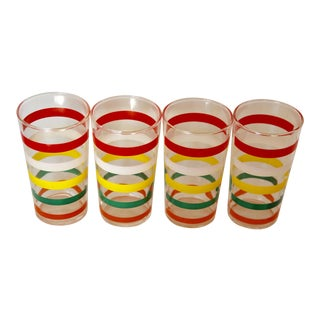 Vintage Colorful Striped Tumblers - Set of 4