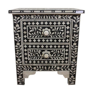 Black & White Floral Two-Drawer Side Table