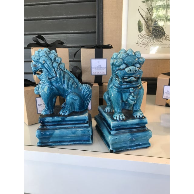 Vintage Turquoise Foo Dogs Figures - A Pair - Image 3 of 6