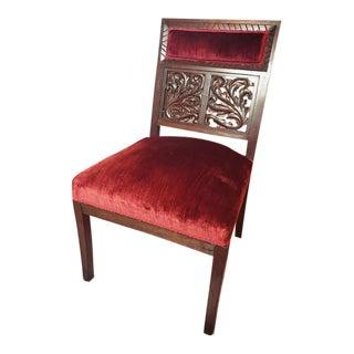 Antique Carved Walnut Red Velvet Chair