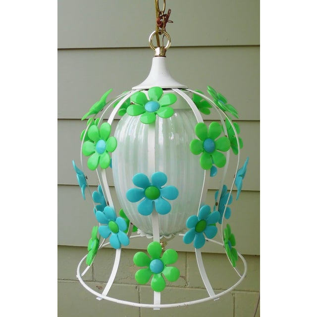 Image of 1970s Mod Flower Power Swag Lamp