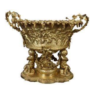 Recast Reproduction Gilt Bronze Repousse Cherub Putti Adorned Centerpiece Bowl