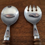 Image of Vintage Style Salad Bowl, Serving Spoon and Fork