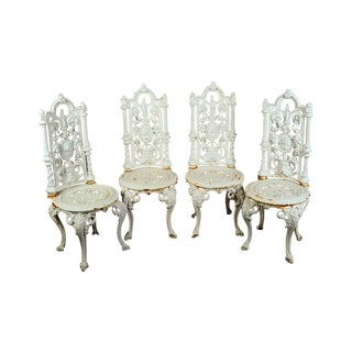 19th C Victorian Cast Iron Patio Chairs - Set of 4