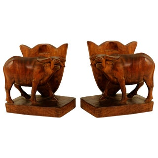 Mid-Century Oxen Bookends