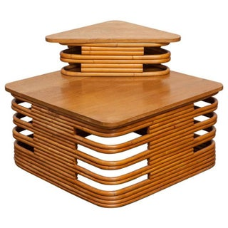 Paul Frankl Stacked Rattan Corner Table