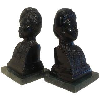 Maharaja Maharani Plaster & Marble Bookends - A Pair