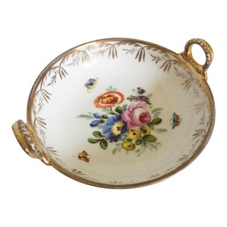 Antique Meissen-Style Floral Handled Catchall