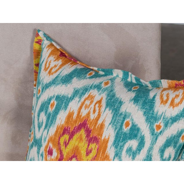 Chenille and Linen Pillow With A Bright Ikat Motif Design - Image 4 of 4
